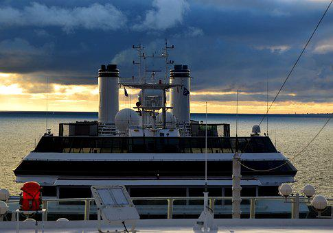 Ship, Cruise, Abendstimmung, Sunset, Sea, Sky