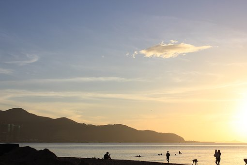 Sea, Vietnam, Bay, Mountains, Dawn, Sky, Beach, Travel
