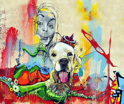 Wall, Girl, Dog, Graphite, Street Art, Painting
