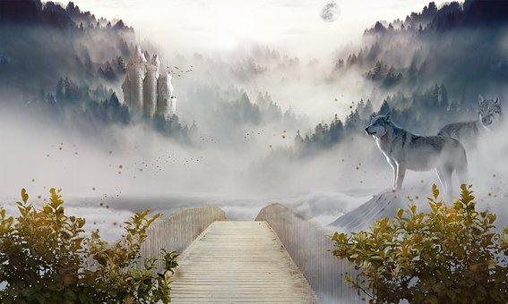 World, Castle, Bridge, Fantasy, Dreamy, Misty