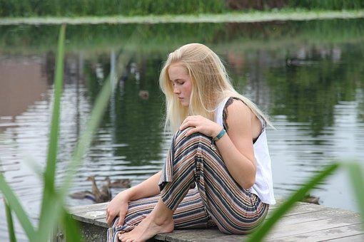 Young Girl, Water, Blonde, Bridge, Wood, Fashion