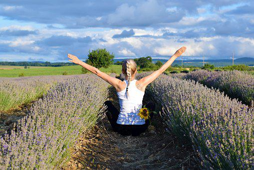 Lavender, Woman, Field, Nature, Flower