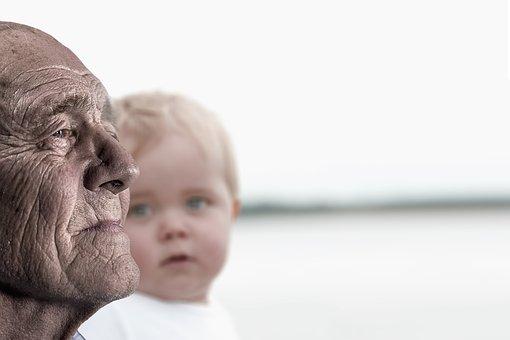 Man, Child, Baby, Grandfather, Grandpa, View, Viewing