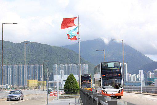 Hong Kong, Airport, Road, Machine, Flags, Mountains