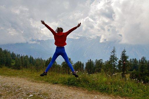 Alps, Girl, Jump, Pleasure, Young, Mountains, Alpine