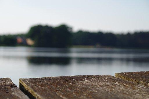 Lake, Bridge, Board, Boards, Nature