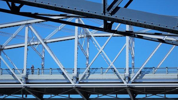Bridge, Man, Sky, Person, Steel