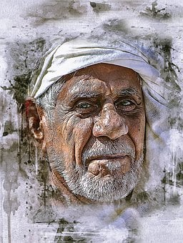 Arabic, Man, Old, Turban