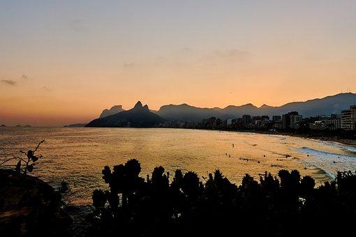 Rio De Janeiro, Brazil, Ipanema, Sunset, Mood, Sun