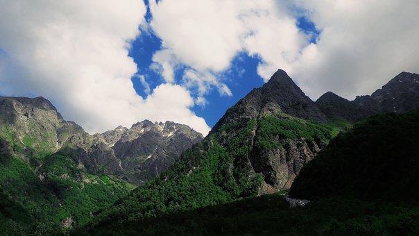 Mountains, Nature, Clouds, Sky, Grass, Snow, Top