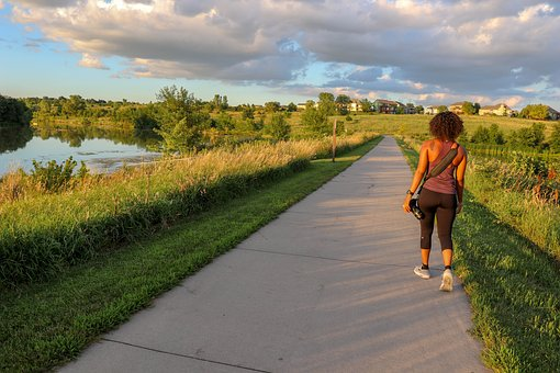 Walking, Trail, Nature, Woman, Landscape, Young