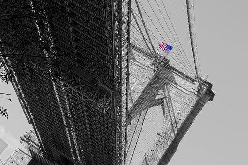 Brooklyn Bridge, New York, Usa, Nyc, City, Bridge, Flag