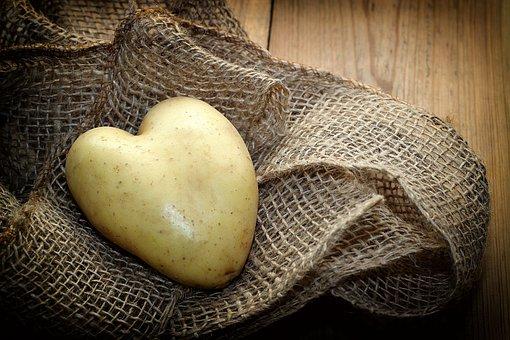 Potato, Heart, Fabric, Wood, Vegetables, Eat, Nutrition