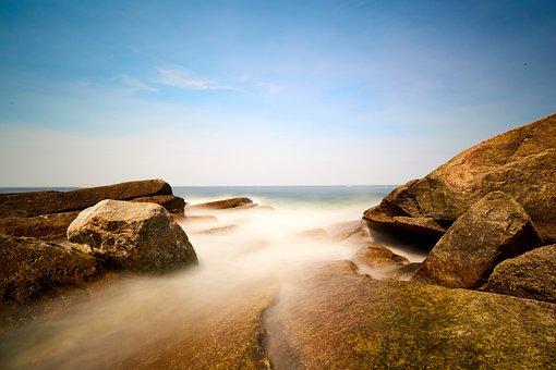 Ocean, Rock, Blue, Water, Sea, Nature, Stones, Sky