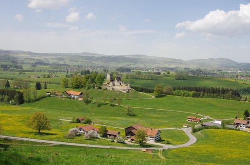 Castle, Panorama, Vista, Germany, Meadows, Road