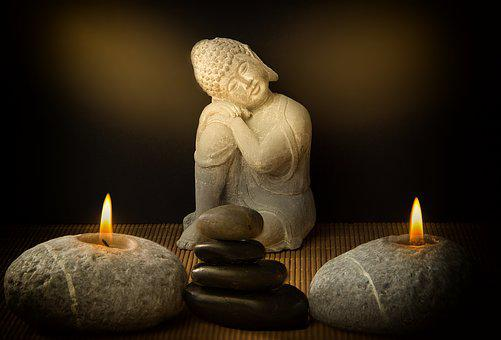 Buddha, Candles, Stones, Religion, Buddhism, Meditation