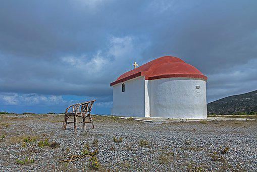 Chapel, Chair, Greece, Rhodes, Clouds