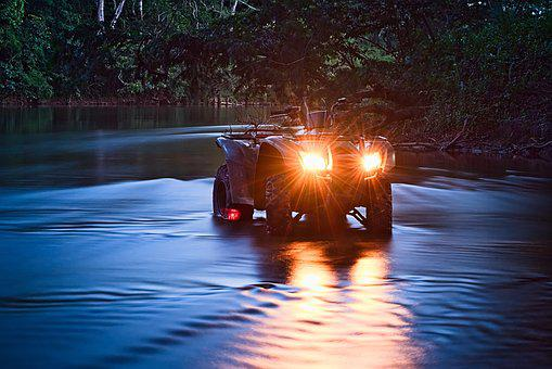 Atv, River, Off Road, All Terrain Vehicle, Flow