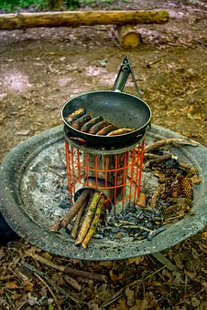 Camping, Fire, Campfire, Pan, Sausage, Stove