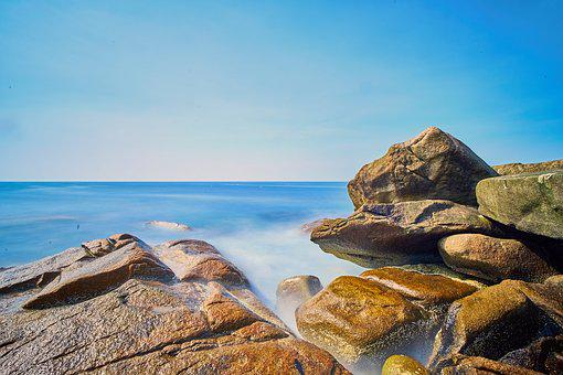 Blue, Sky, Rocks, Clouds, Landscape, Summer, Sea