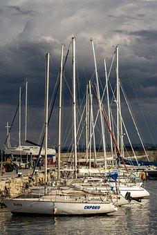 Marina, Port, Yachts, Water, Boats, Sea, Sky, Ship