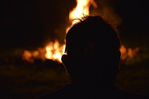 Fire, Silhouette, Flame, Burn, Man
