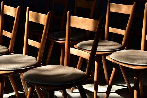 Chairs, Wood Chairs, Sit, Set, Wait, Seats, Lichtspiel