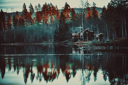 Lake, Autumn, Cottage, Smoke, In The Morning