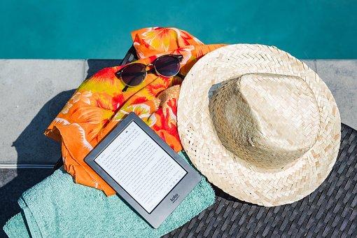 Swimming Pool, Ebook, Sunglasses, Sun, Summer, Reading