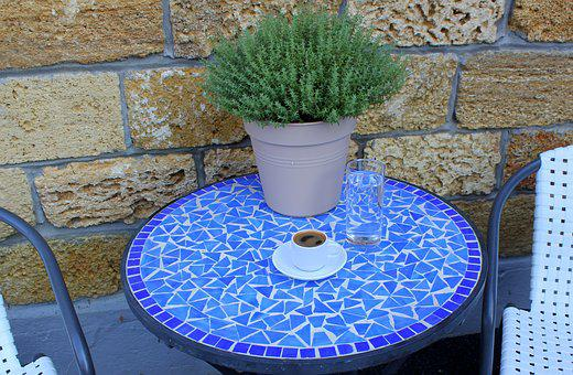 Greek Coffee, Blue Table, Thyme, Culinary Herbs, Plant