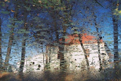 Reflection, Pond, Landscape, Nature, Tree, River, Sky