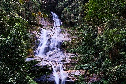 Rio De Janeiro, Brazil, Rainforest, Waterfall, Tropical