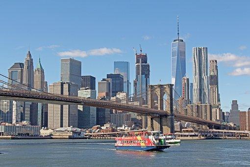 Brooklyn Bridge, New York, Usa, Nyc, City, Bridge, Flag
