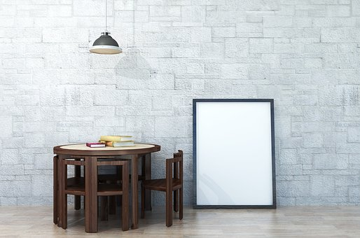Interior, Poster, Mockup, Wall, Presentation, Desk