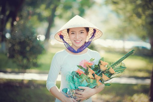 Girl, Smile, Long Dress, Aodai, Sun Flower, Classic
