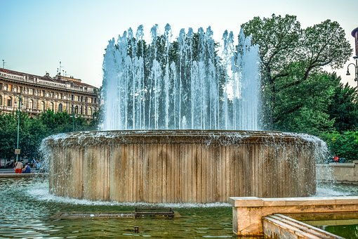Fountain, Square, Water, Architecture, City, Park