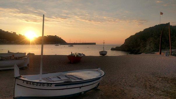 Sunhine, Dawn, Sun, Peace, Fisherman, Beach, Stillness