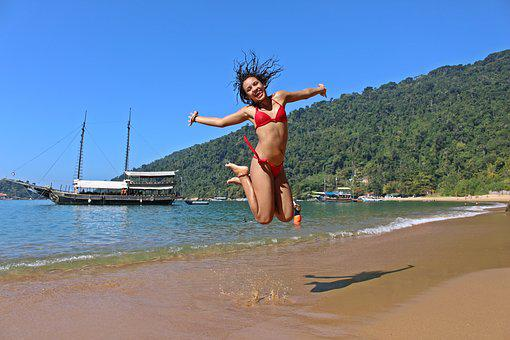 Girl, Jumping, Happy, Mar, Beach, Blue, Paraty, Jump