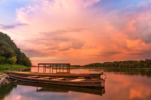 Wisla, Sunset, Boat, Boats, River, Landscape, Evening