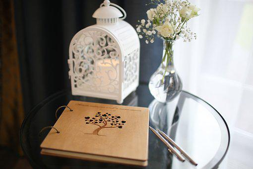 Table, Flowers, Wedding, Bouquet Lantern, The Exit Sign