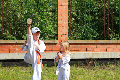 Sports, Karate, Kyokushin, Kids, Bracing