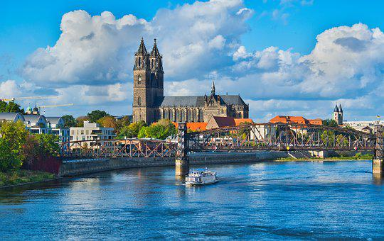 Magdeburg, Saxony-anhalt, City, Elbe, River, City View