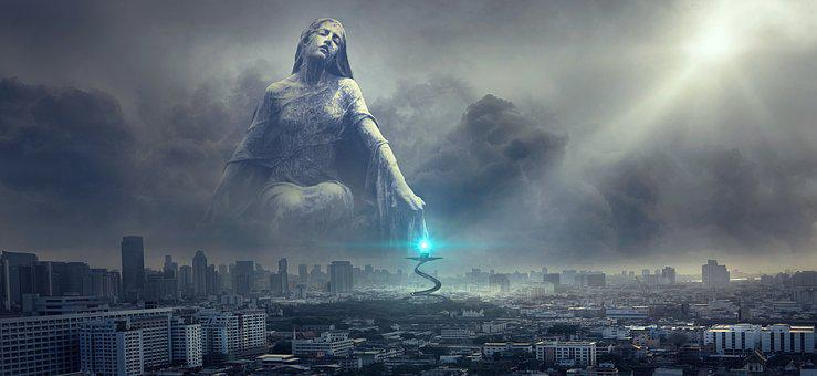 Fantasy, City, Statue, Light, Clouds, Blessing, Sun