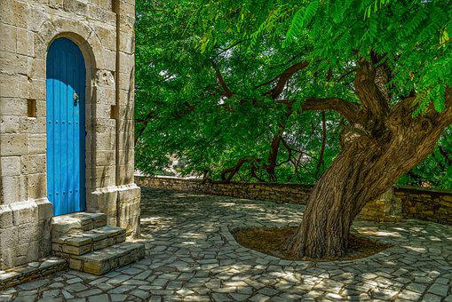 Slate, Square, Tree, Door, Stone, Village, Cyprus
