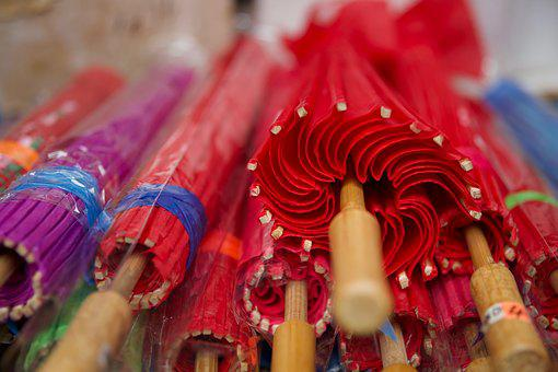 Parasol, Umbrella, Display, Chinatown, Red, Summer