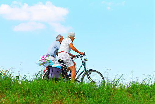 Person, Man, Woman, Couple, Elderly, Cycling, Together