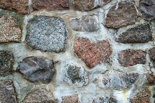 Wall, Feldstein, Heart, Heart Shape, Mortar, Background