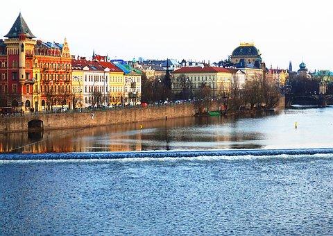 River, Prague, Czechia, Embankment, Theatre, House
