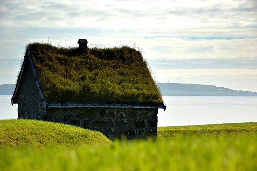 House, Turf Roof, Old, Meadow, Sea, Torshavn