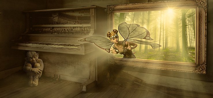 Fantasy, Fairy Tales, Elf, Kobold, Image, Window, Piano